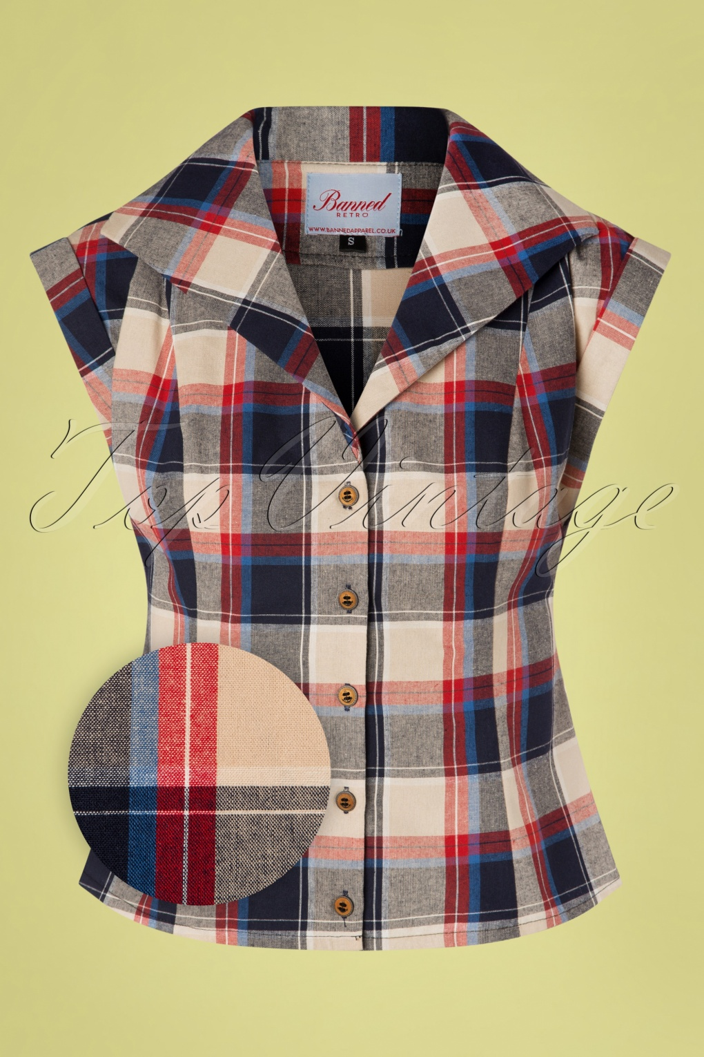 1940s Blouses and Tops 40s Summer Seaside Check Blouse in Navy £24.95 AT vintagedancer.com