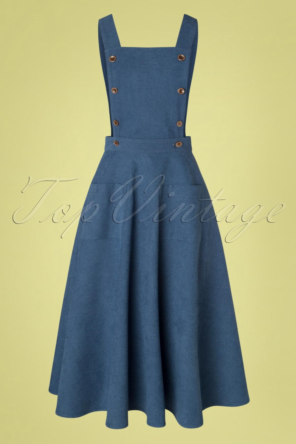 What Did Women Wear in the 1950s? 1950s Fashion Guide 50s Book Smart Pinafore Swing Dress in Blue  AT vintagedancer.com