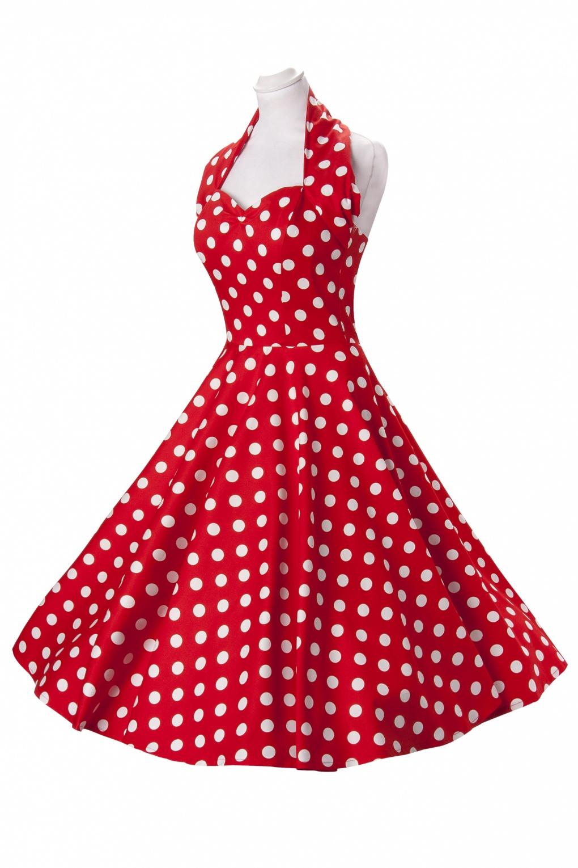 50s Retro Halter Polka Dot Red White Swing Dress Cotton Sateen