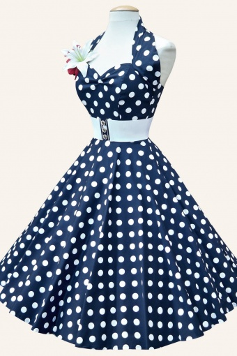 0633eaebb7ec 50s Retro halter Polka Dot Navy White swing dress cotton sateen