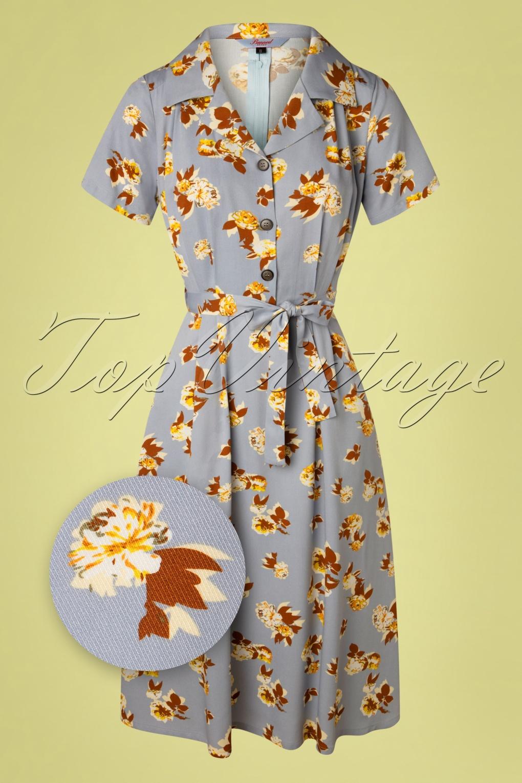 Modest, Mature, Mrs. Vintage Dresses – 20s, 30s, 40s, 50s, 60s 40s Sweet Tropicana Swing Dress in Light Blue £24.95 AT vintagedancer.com