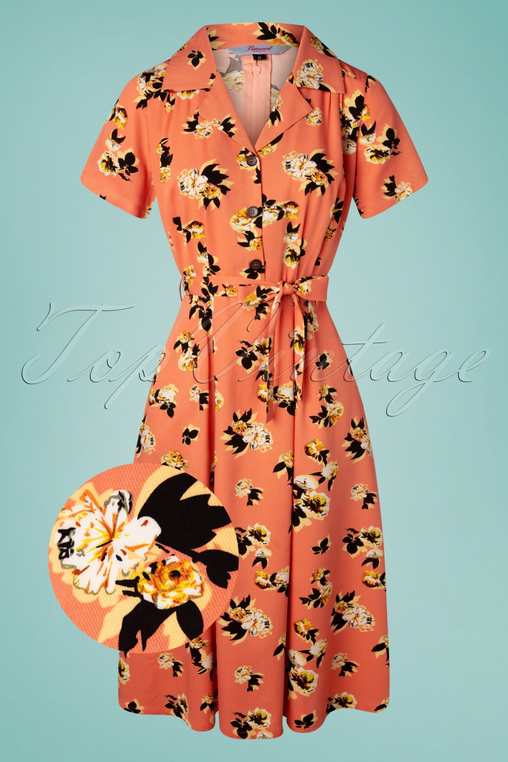 1940s Dress Styles 40s Sweet Tropicana Swing Dress in Peachy Orange £24.95 AT vintagedancer.com