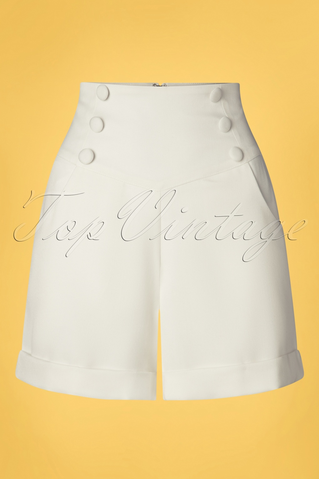 Vintage Shorts, Culottes,  Capris History 50s Cute As A Button Shorts in White £24.95 AT vintagedancer.com