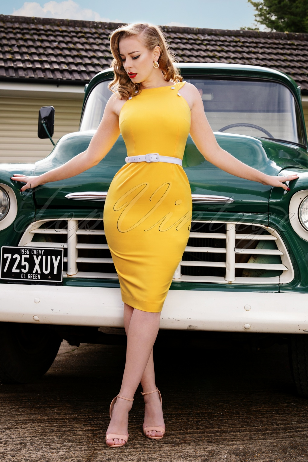 60s Dresses | 1960s Dresses Mod, Mini, Hippie 50s Fiona Pencil Dress in Sunny Yellow £19.95 AT vintagedancer.com