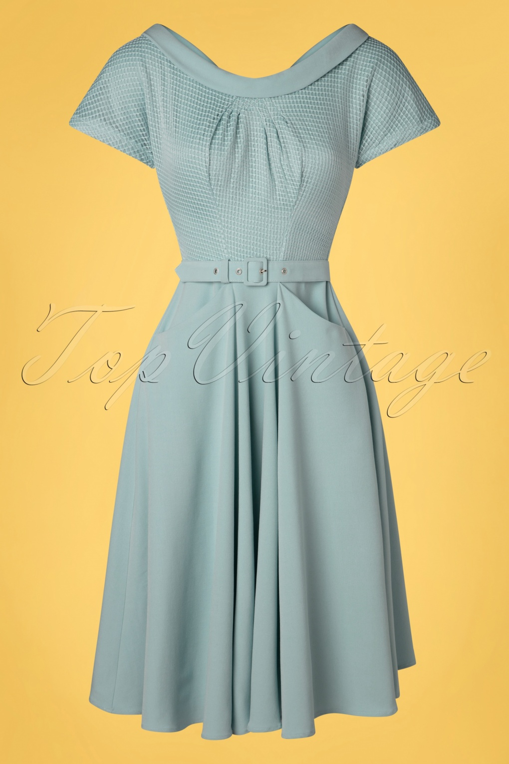 1950s Dresses, 50s Dresses | 1950s Style Dresses 50s Lorin Minty Swing Dress in Ice Blue £19.95 AT vintagedancer.com