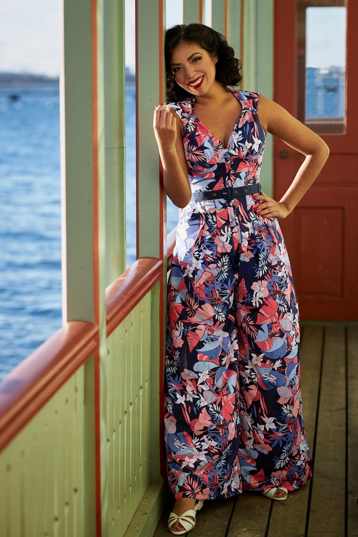Vintage Overalls 1910s -1950s History & Shop Overalls 50s Zelene Lee Floral Jumpsuit in Navy £19.95 AT vintagedancer.com