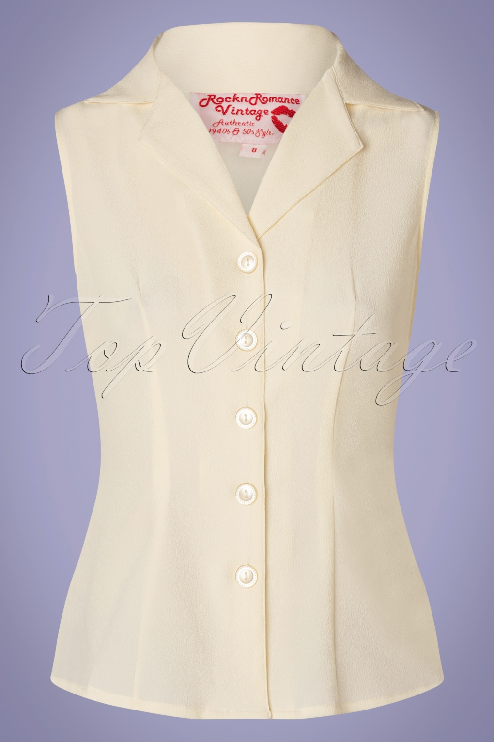 50s Shirts & Tops 50s Gladys Sleeveless Summer Blouse in Antique White  AT vintagedancer.com