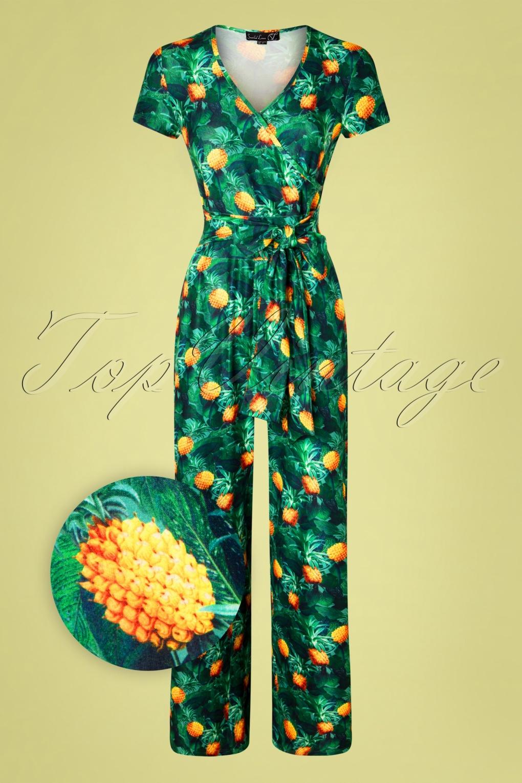 Vintage Overalls & Jumpsuits 60s Jillian Pineapple Jumpsuit in Green £68.94 AT vintagedancer.com