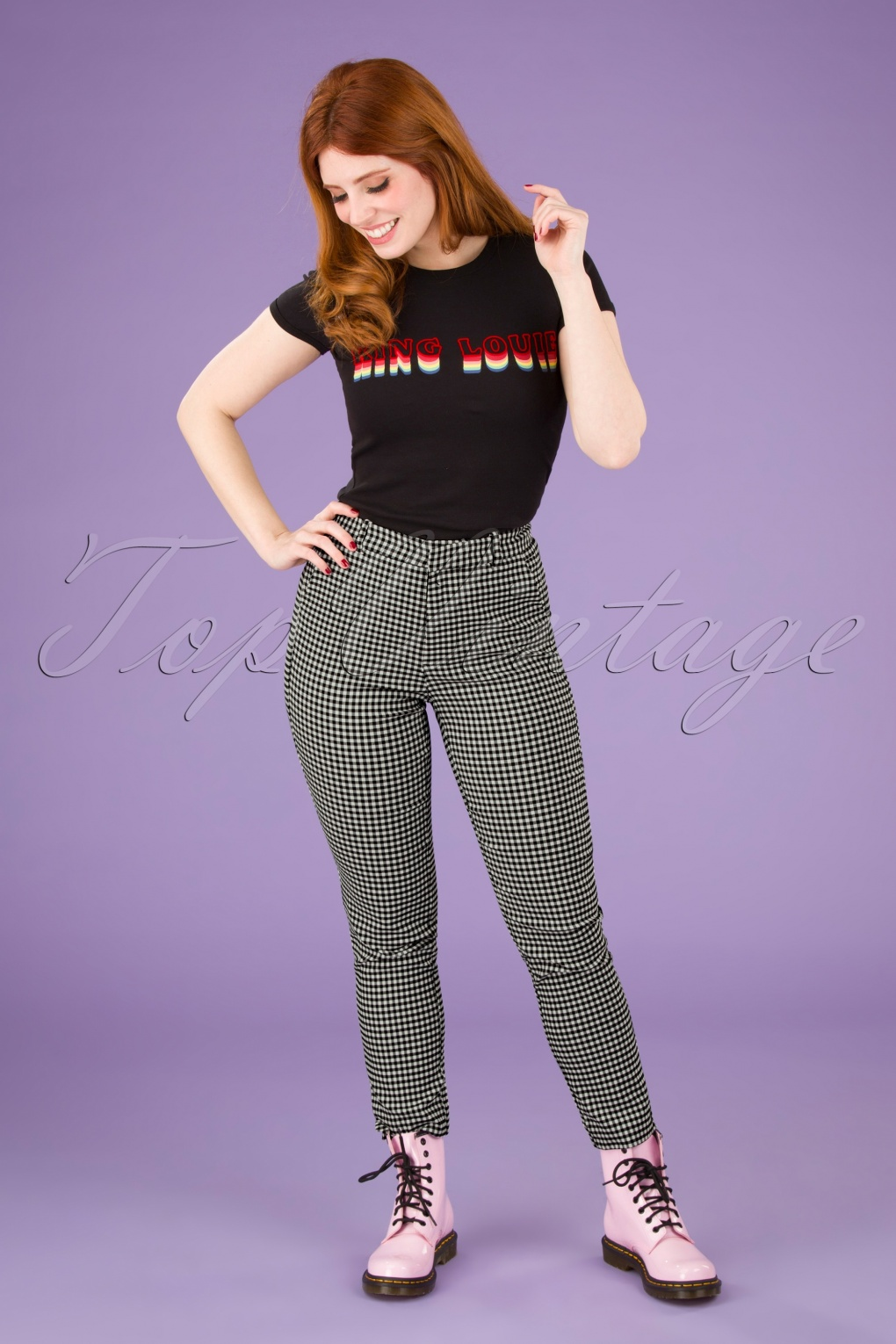 1960s Pants – Top 10 Styles for Women 60s Joele Gingham Trousers in Black and White £24.95 AT vintagedancer.com