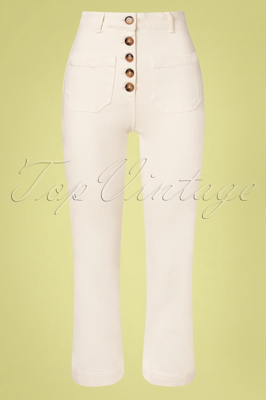 1960s Pants – Top 10 Styles for Women 60s High Waist Sweet Denim Pants in Gardenia White £19.95 AT vintagedancer.com