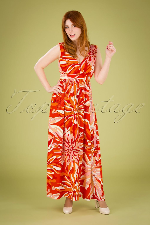 70s Dresses – Disco Dress, Hippie Dress, Wrap Dress 70s Gods Smile Maxi Dress in Red £19.95 AT vintagedancer.com