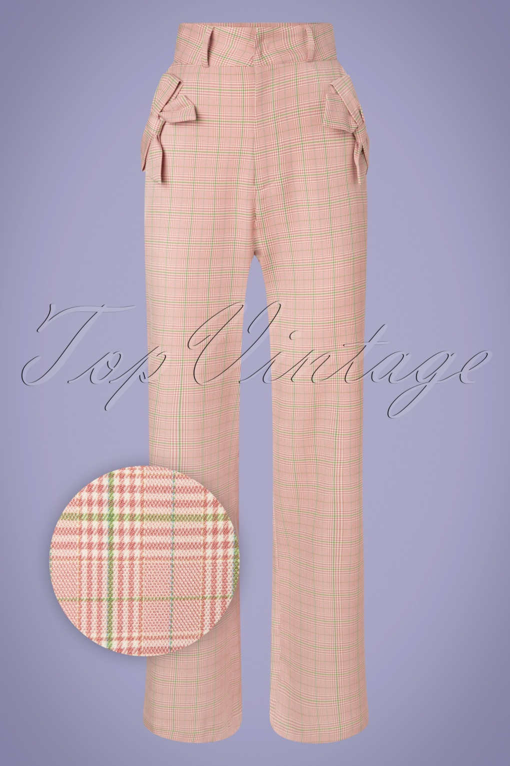 1940s Swing Pants & Sailor Trousers- Wide Leg, High Waist 40s Tammy Bow Wide Trousers in Pink Plaid £47.57 AT vintagedancer.com