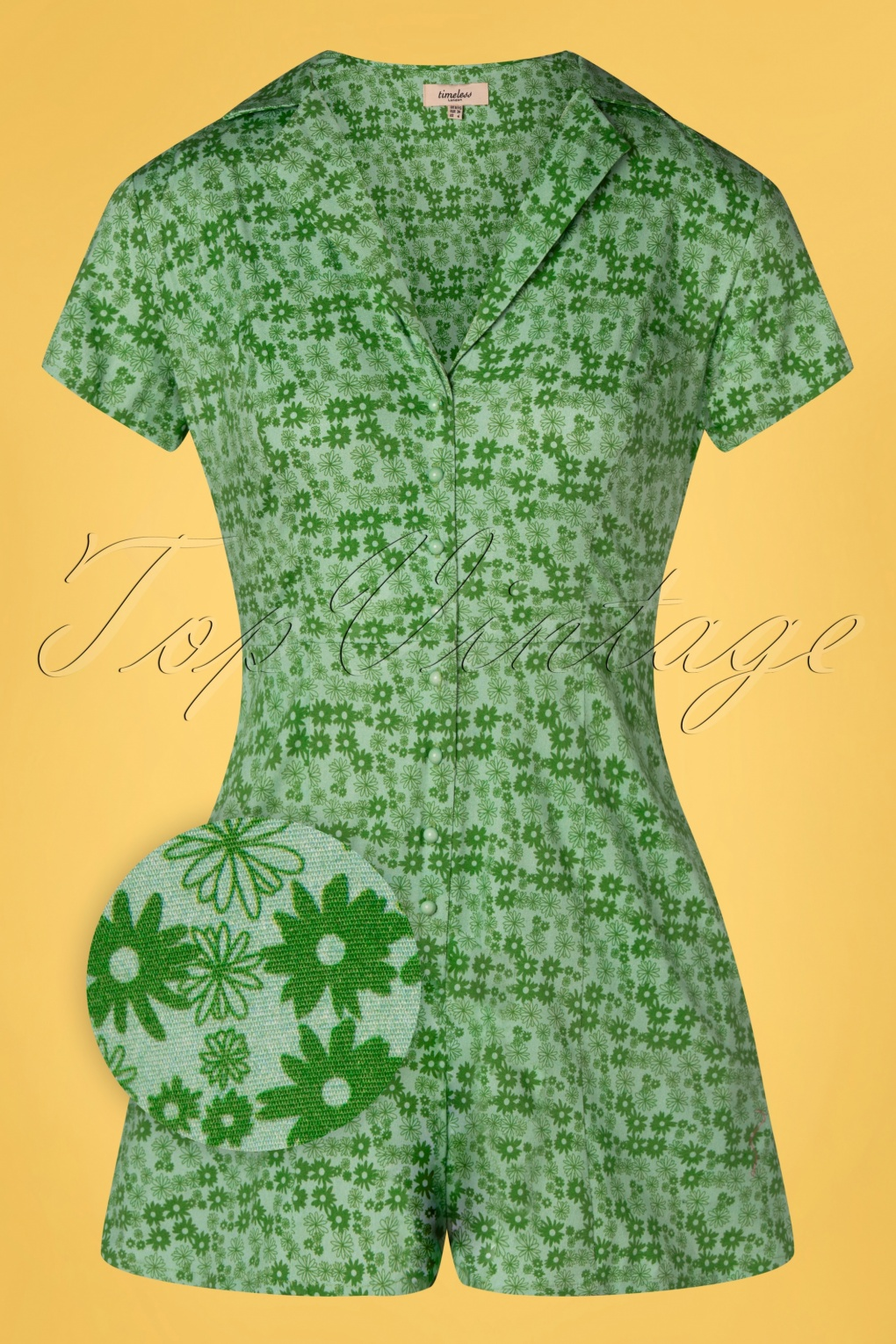 Vintage Rompers, Playsuits   Retro, Pin Up, Rockabilly Playsuits 60s Breta Floral Playsuit in Green £24.95 AT vintagedancer.com