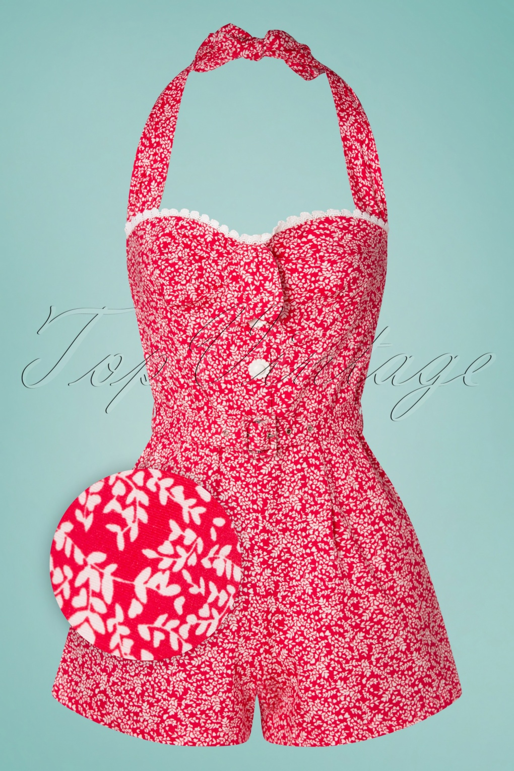 40s-50s Vintage Playsuits, Jumpsuits, Rompers History 50s Lin Hearts Playsuit in Raspberry Red £24.95 AT vintagedancer.com