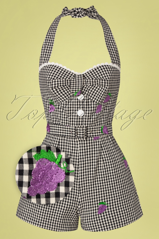 40s-50s Vintage Playsuits, Jumpsuits, Rompers History 50s Savi Gingham Playsuit in Black £24.95 AT vintagedancer.com