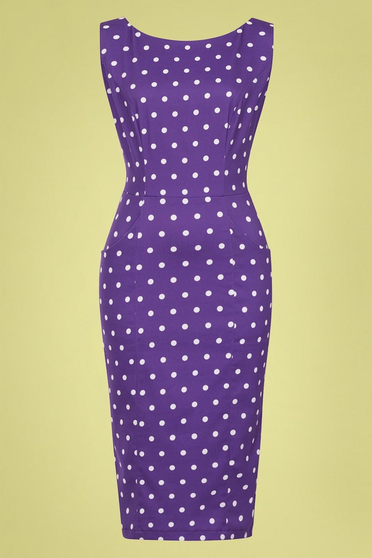 1950s Dresses, 50s Dresses | 1950s Style Dresses 50s Hepburn Pretty Polka Dot Pencil Dress in Purple £24.95 AT vintagedancer.com