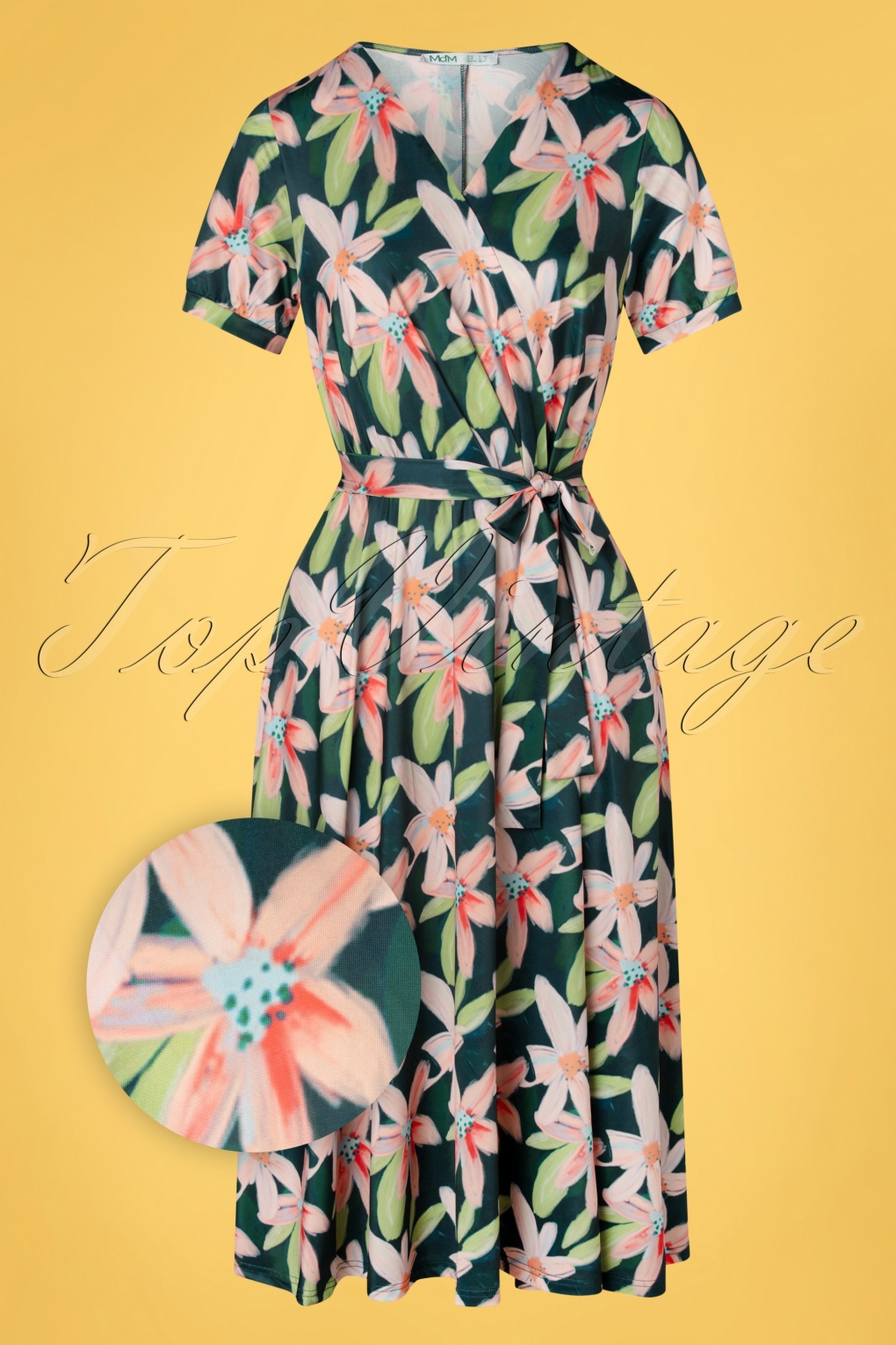 Retro Tiki Dress – Tropical, Hawaiian Dresses 50s Bibian Cross Over Swing Dress in Botanical £24.95 AT vintagedancer.com