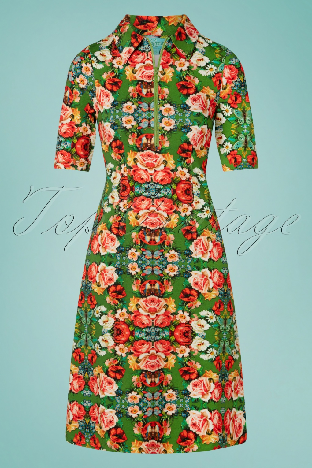 60s Dresses | 1960s Dresses Mod, Mini, Hippie 60s Rose Zipper Dress in Green £19.95 AT vintagedancer.com
