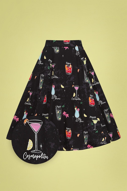 1950s Swing Skirt, Poodle Skirt, Pencil Skirts 50s Matilde Cocktail Menu Swing Skirt in Black £24.95 AT vintagedancer.com