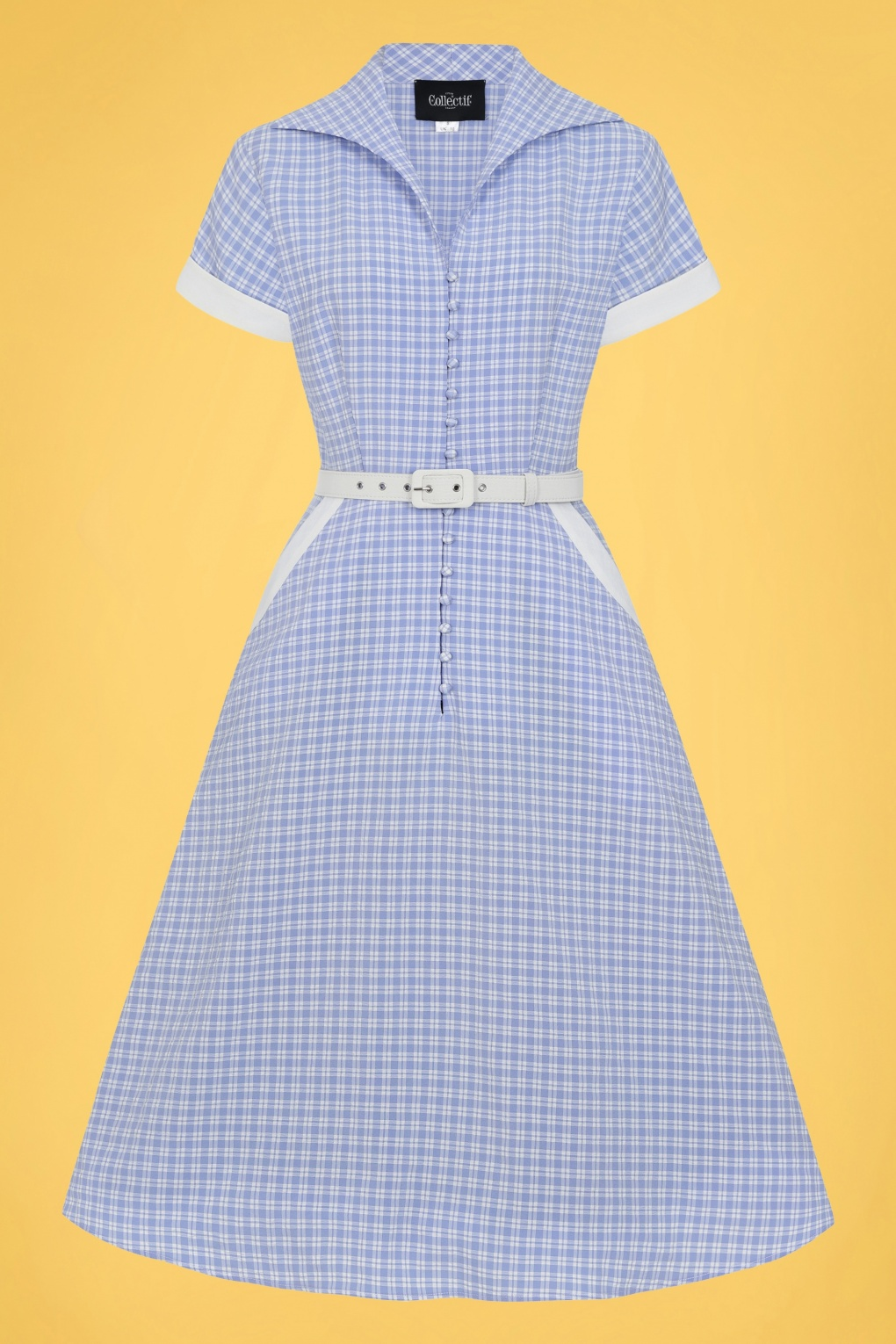 Vintage Shirtwaist Dress History 50s Marjorie Contrast Swing Dress in Blue and White £24.95 AT vintagedancer.com