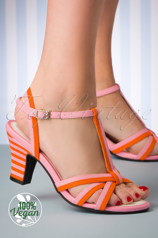 1950s Shoe Styles: Heels, Flats, Sandals, Saddle Shoes 50s Ava Vegan Smootie Sandals in Pink and Orange £19.95 AT vintagedancer.com