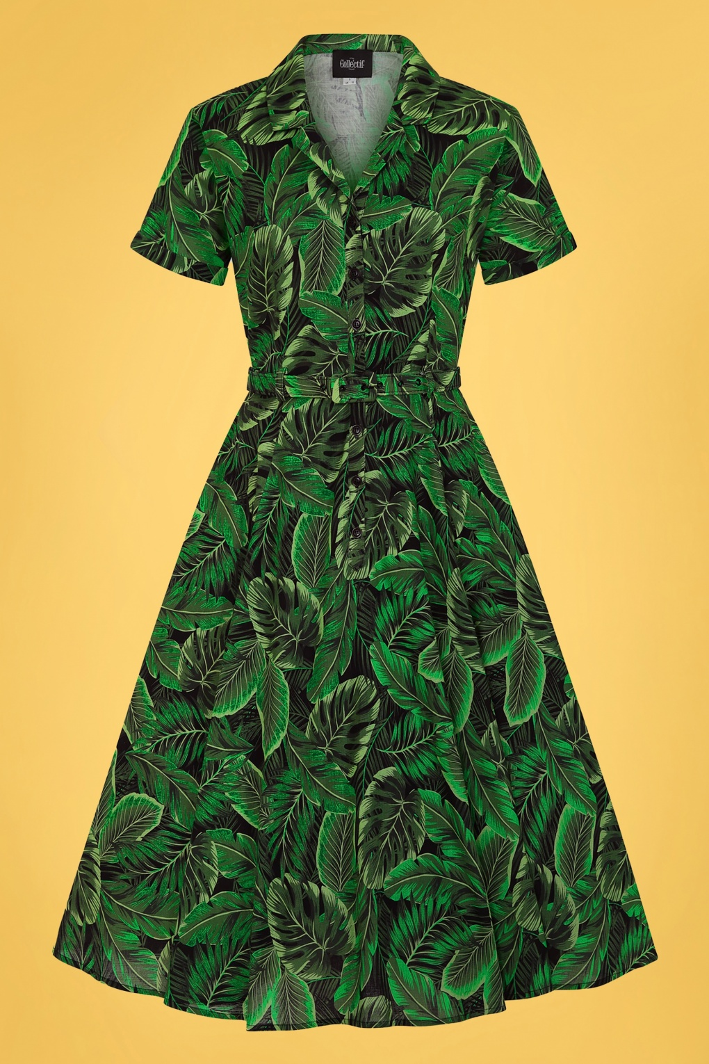 Retro Tiki Dress – Tropical, Hawaiian Dresses 50s Caterina Tropics Swing Dress in Green £24.95 AT vintagedancer.com