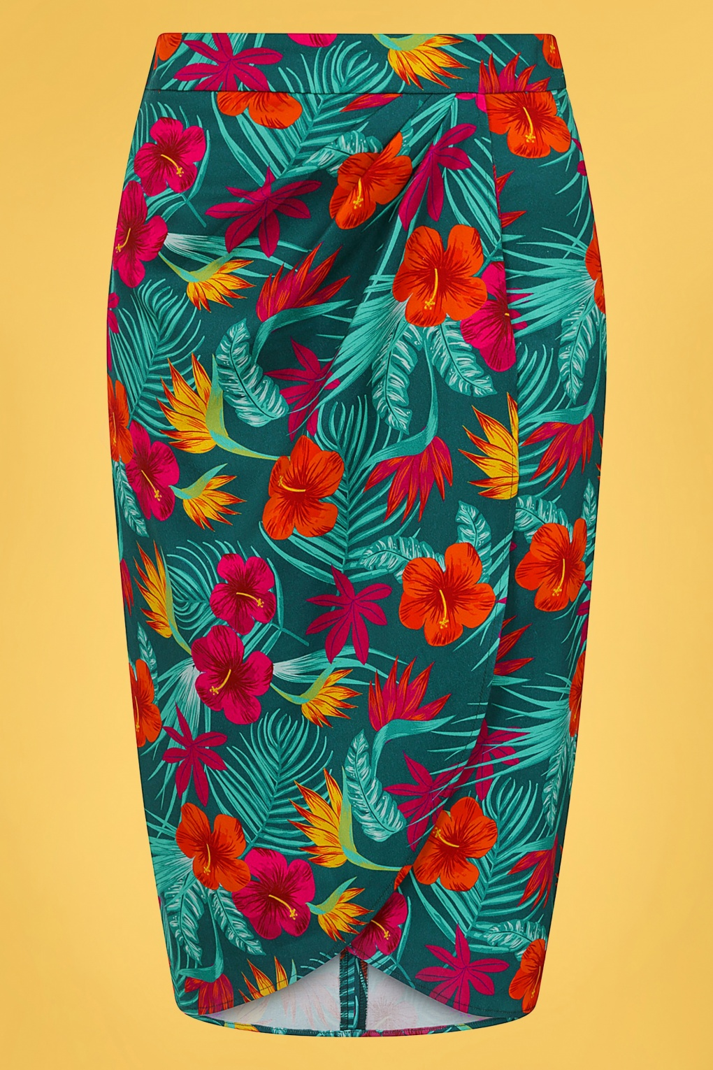 Retro Tiki Dress – Tropical, Hawaiian Dresses 50s Kala Tropico Sarong Skirt in Teal £24.95 AT vintagedancer.com
