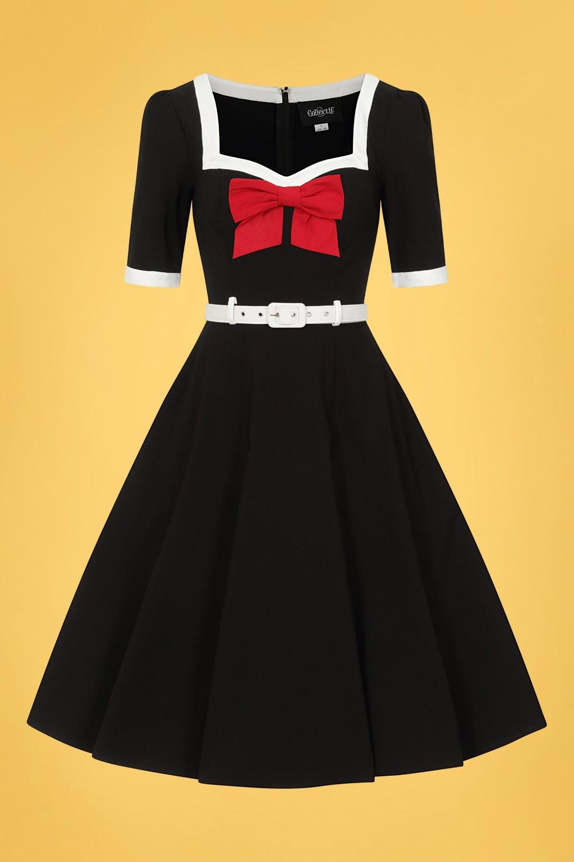 Sailor Dresses, Nautical Theme Dress, WW2 Dresses 50s Sadie Swing Dress in Black £24.95 AT vintagedancer.com