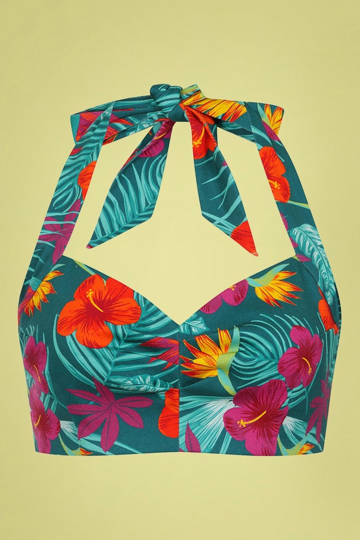 50s Shirts & Tops 50s Adriana Tropico Halterneck Top in Teal  AT vintagedancer.com