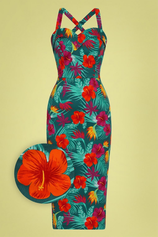 Retro Tiki Dress – Tropical, Hawaiian Dresses 50s Kiana Tropico Pencil Dress in Multi £24.95 AT vintagedancer.com