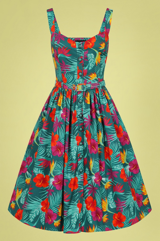 Retro Tiki Dress – Tropical, Hawaiian Dresses 50s Jemima Tropico Swing Dress in Multi £24.95 AT vintagedancer.com