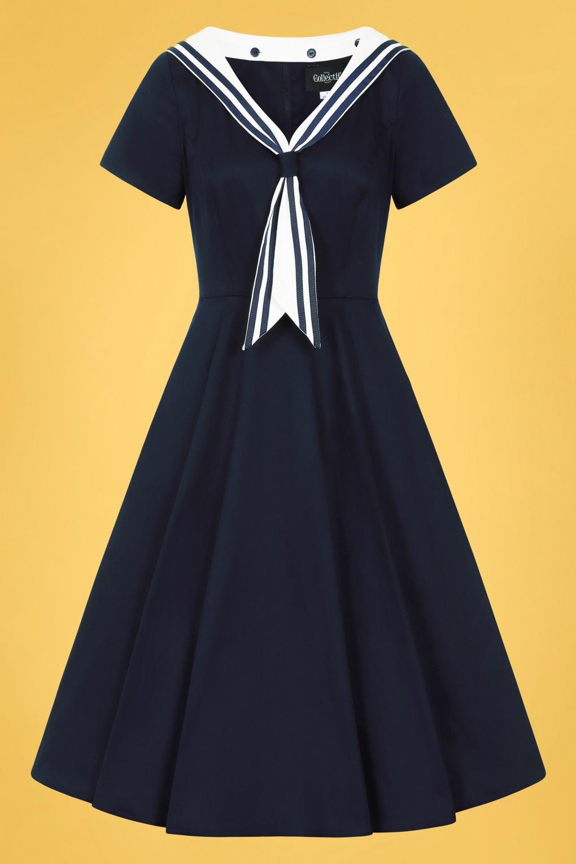 Vintage Sailor Clothes, Nautical Theme Clothing 50s Nene Sailor Swing Dress in Navy £24.95 AT vintagedancer.com