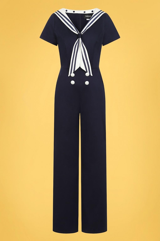Sailor Dresses, Nautical Theme Dress, WW2 Dresses 50s Nene Sailor Jumpsuit in Navy £24.95 AT vintagedancer.com