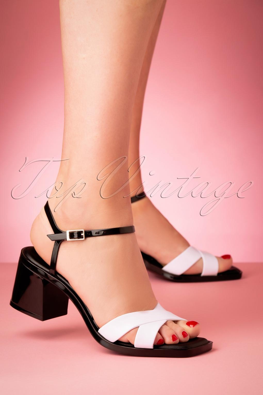 Vintage Sandals | Wedges, Espadrilles – 30s, 40s, 50s, 60s, 70s 60s Sketch Sandals in Black and White £24.95 AT vintagedancer.com