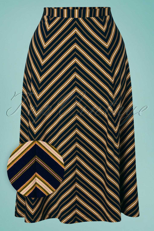 Vintage Skirts & Retro Skirt Trends 60s Juno Gonzalez Stripe Panel Skirt in Blue  AT vintagedancer.com