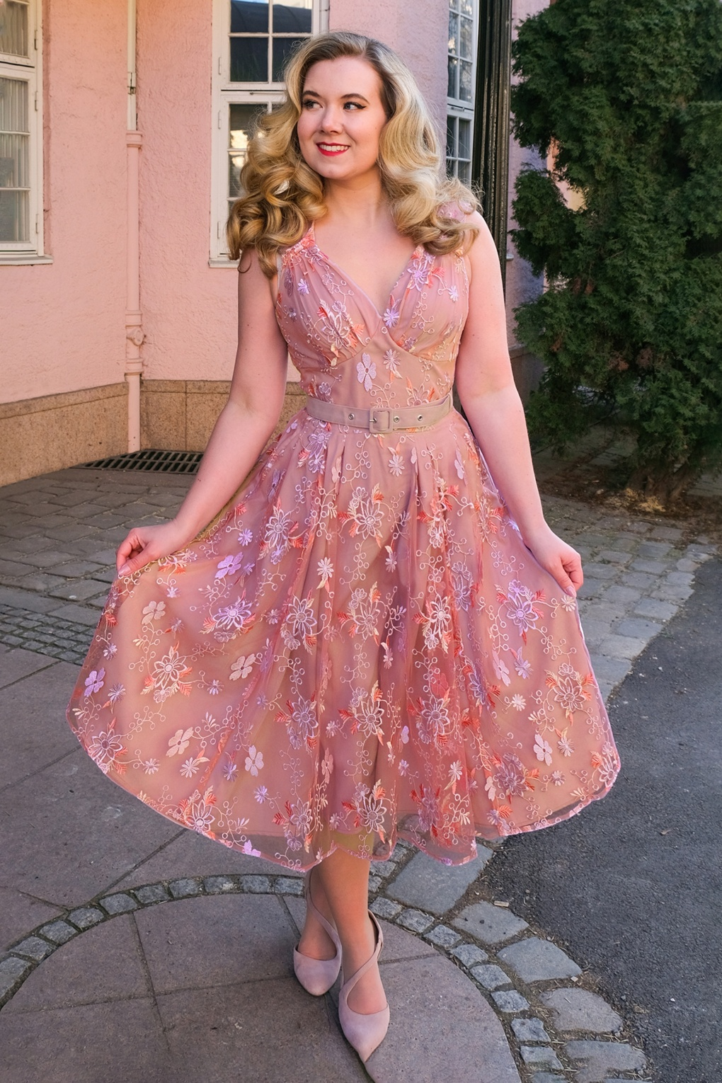 1950s Party Dresses & Prom Dresses for Sale 50s Barite Helio Summer Swing Dress in Pink £19.95 AT vintagedancer.com