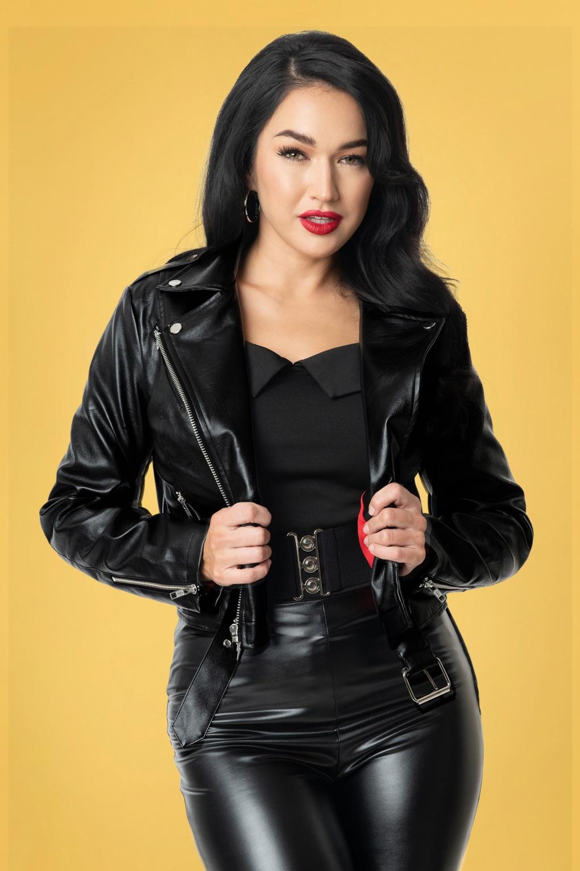 Vintage Coats & Jackets | Retro Coats and Jackets 50s Grease Greaser Vegan Leather Jacket in Black £99.12 AT vintagedancer.com