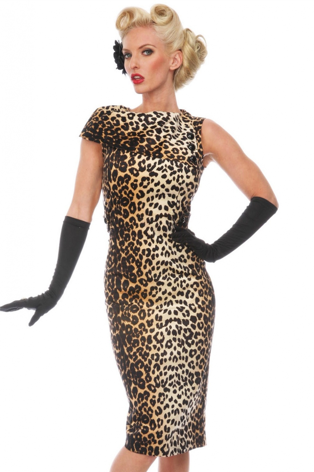 50s leopard pencil dress. Black Bedroom Furniture Sets. Home Design Ideas