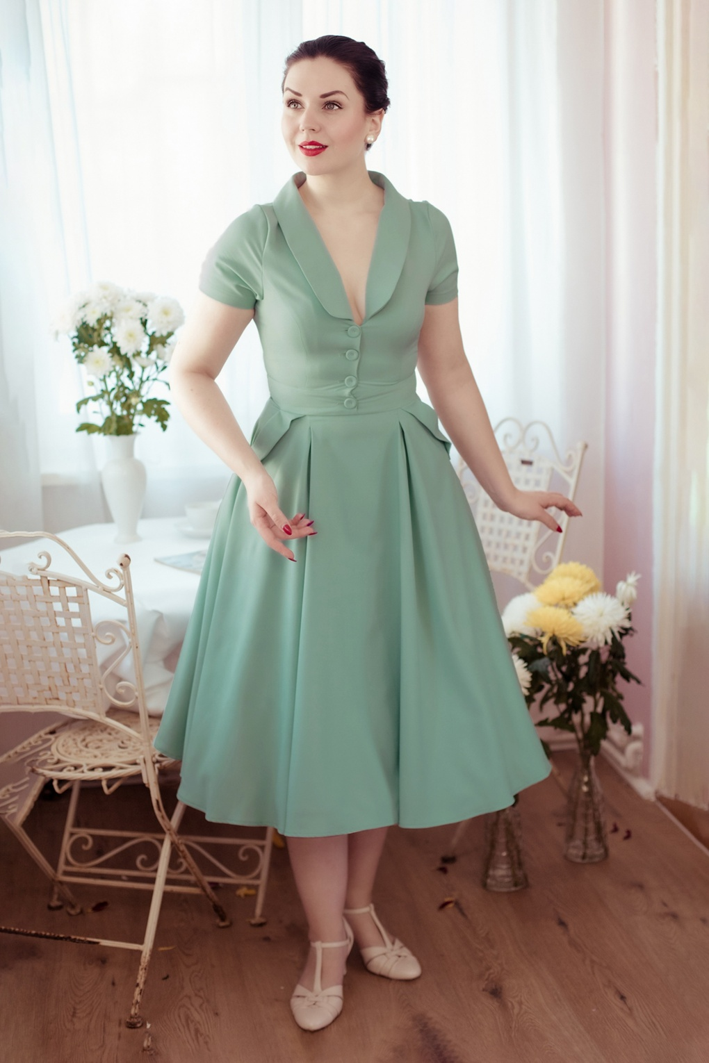 1950s Inspired Fashion: Recreate the Look 50s Matia Swing Dress in Minty £19.95 AT vintagedancer.com