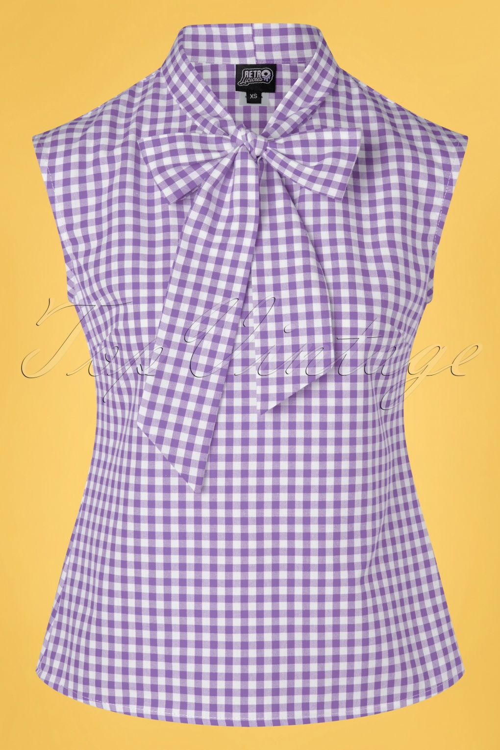 60s Shirts, T-shirts, Blouses, Hippie Shirts 60s Violet Gingham Bow Top in Lilac and White £24.95 AT vintagedancer.com