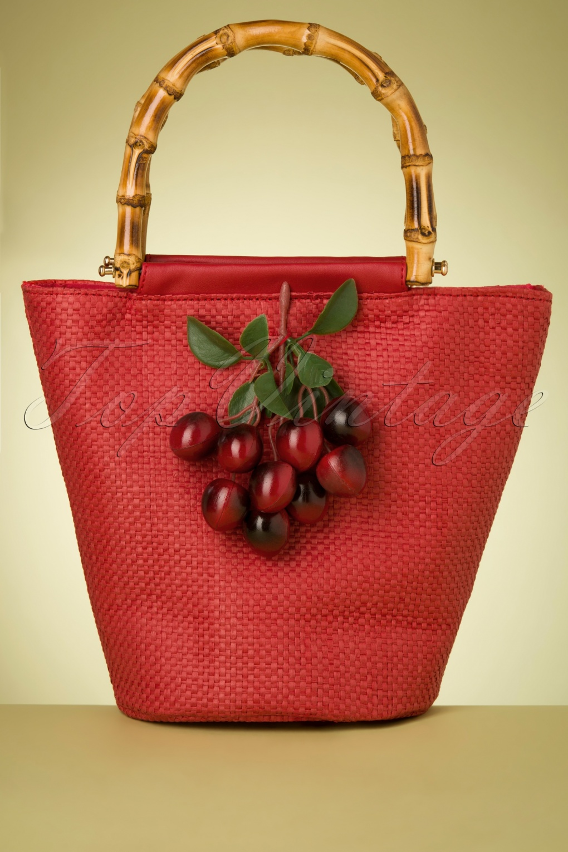 1950s Handbags, Purses, and Evening Bag Styles 50s Olga Cherry Handbag in Red £51.73 AT vintagedancer.com