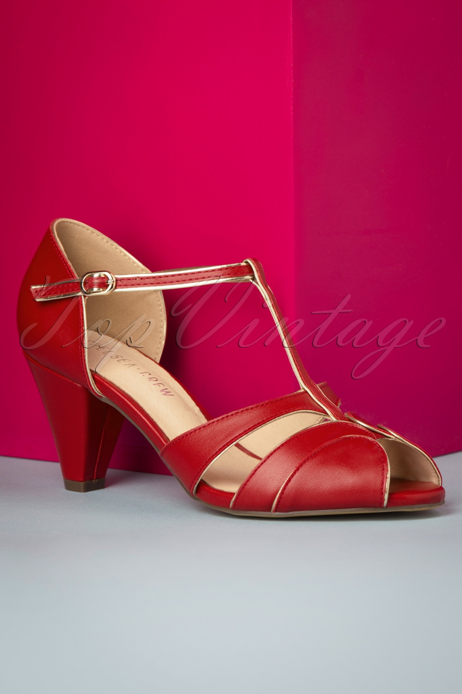 1950s Shoe Styles: Heels, Flats, Sandals, Saddle Shoes 40s Penelope Peeptoe Pumps in Red £24.95 AT vintagedancer.com