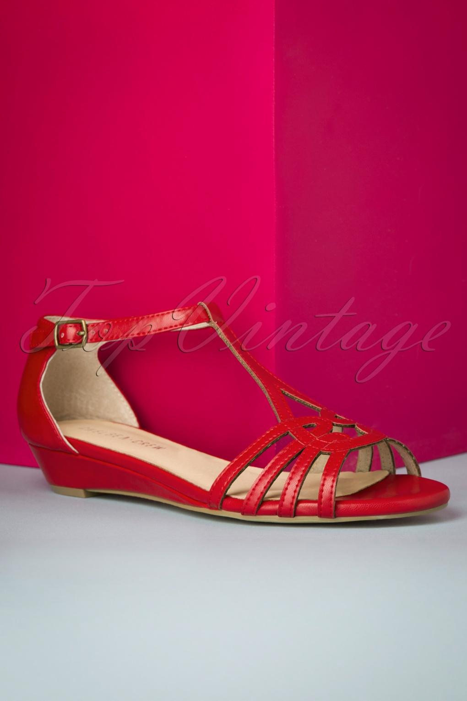 1950s Shoe Styles: Heels, Flats, Sandals, Saddle Shoes 50s Sedona Peeptoe Sandals in Red £24.95 AT vintagedancer.com