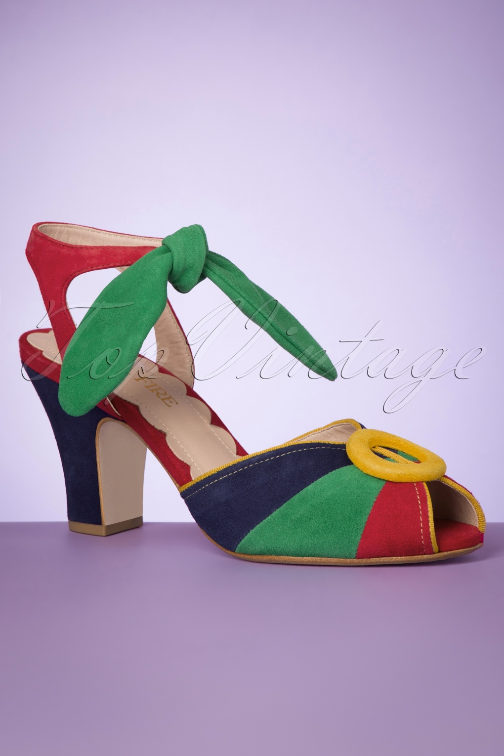 1930s Style Clothing and Fashion 40s Lorena Suede Peeptoe Pumps in Kodachrome Brights £19.95 AT vintagedancer.com