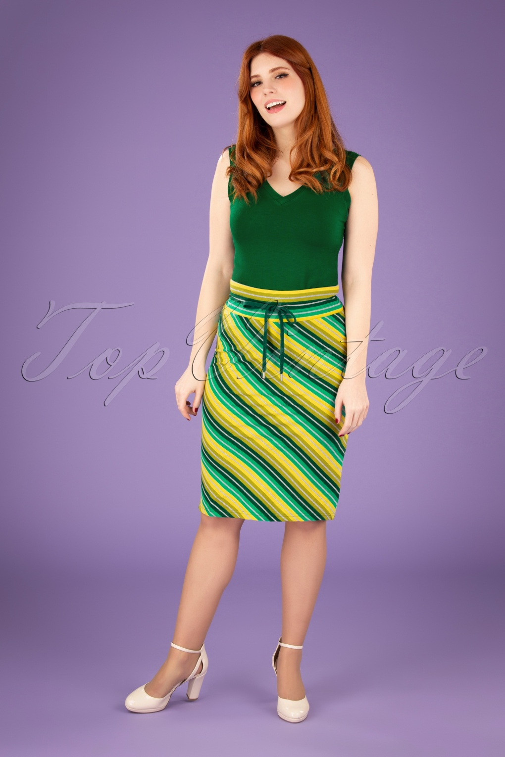 1960s Style Clothing & 60s Fashion 60s Thula Striped Tube Skirt in Leaf and Seaweed £33.02 AT vintagedancer.com