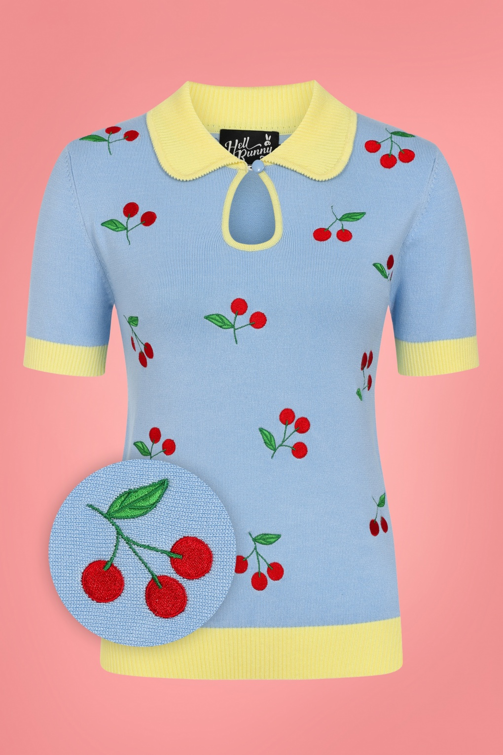 50s Shirts & Tops 50s Cherry Bonbon Top in Blue and Yellow  AT vintagedancer.com