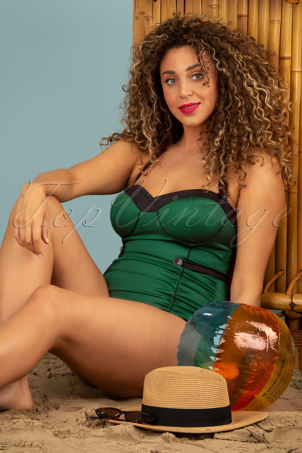 1950s Bathing Suits, Swimsuits History 50s Serena One Piece Swimsuit in Glossy Dark Green £99.52 AT vintagedancer.com