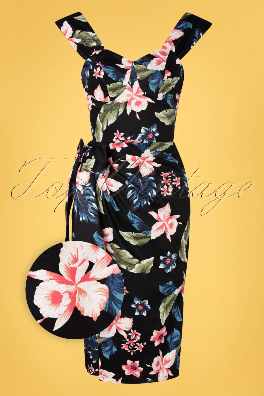 Retro Tiki Dress – Tropical, Hawaiian Dresses 50s Sumatra Floral Sarong Pencil Dress in Black £99.52 AT vintagedancer.com