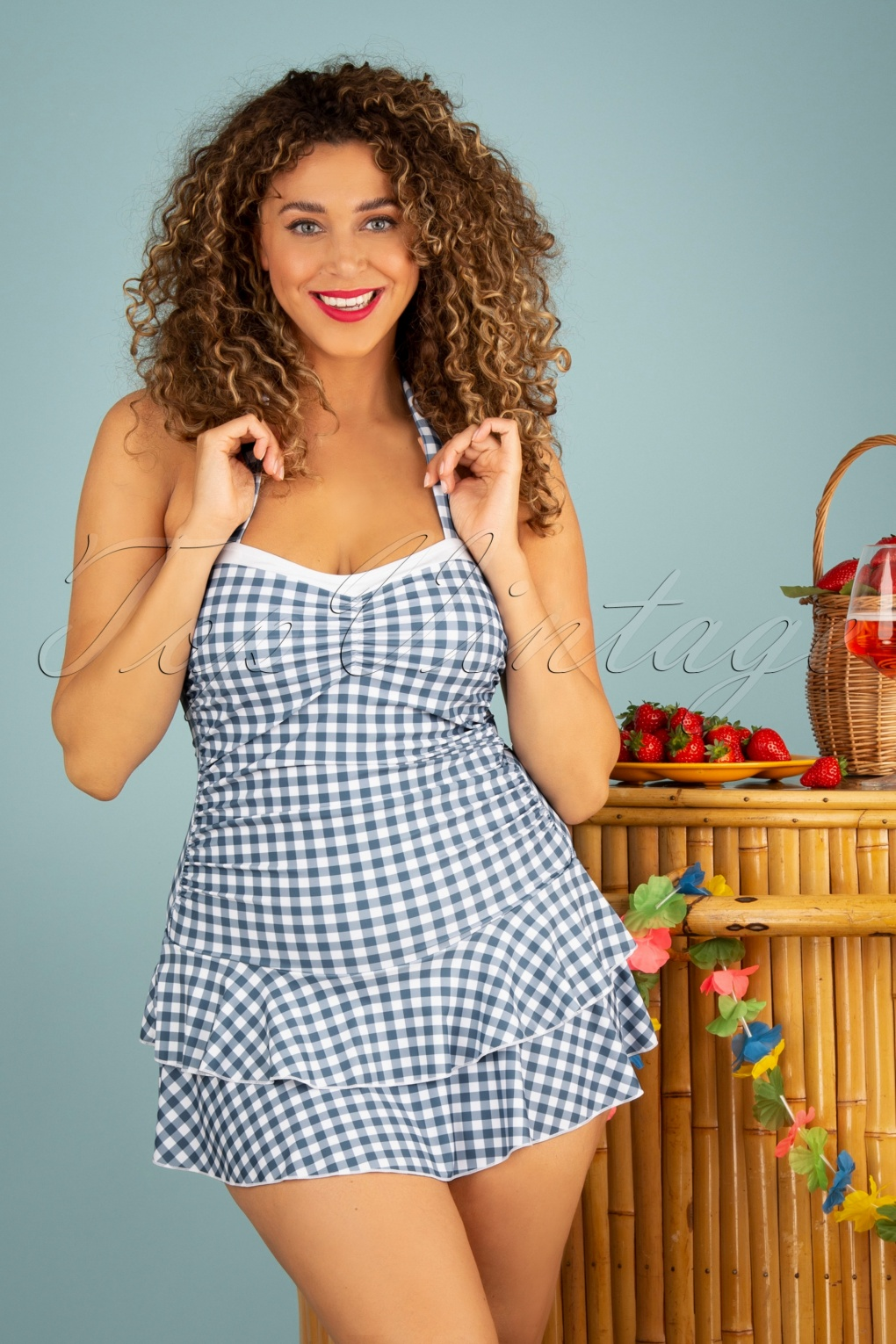 1930s Style Clothing and Fashion 50s Classic Gingham Halter Swimsuit in Blue and White £43.24 AT vintagedancer.com