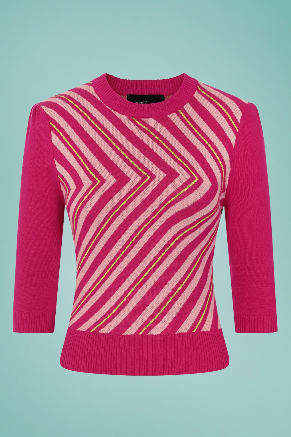 60s Shirts, T-shirts, Blouses, Hippie Shirts 60s Christie V Stripe Knitted Top in Raspberry £38.91 AT vintagedancer.com